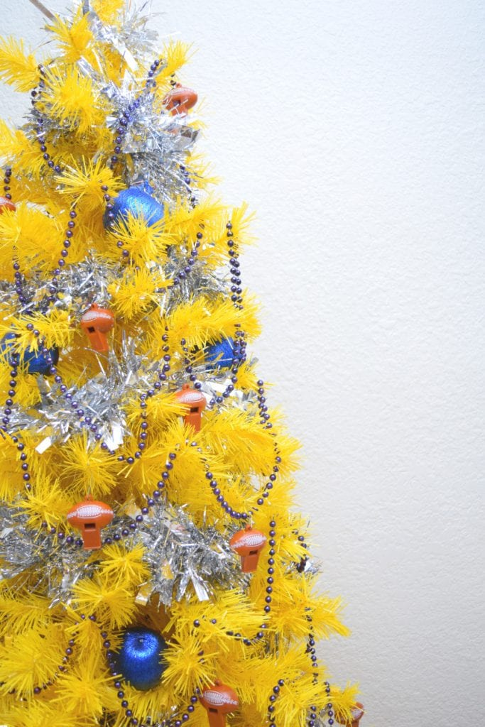 Rams themed yellow Christmas tree for the Super Bowl 2019