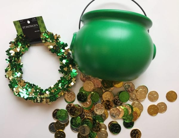 Green pot of gold and lucky coins