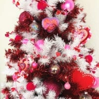 Red and White Christmas tree decorated for Valentine's Day