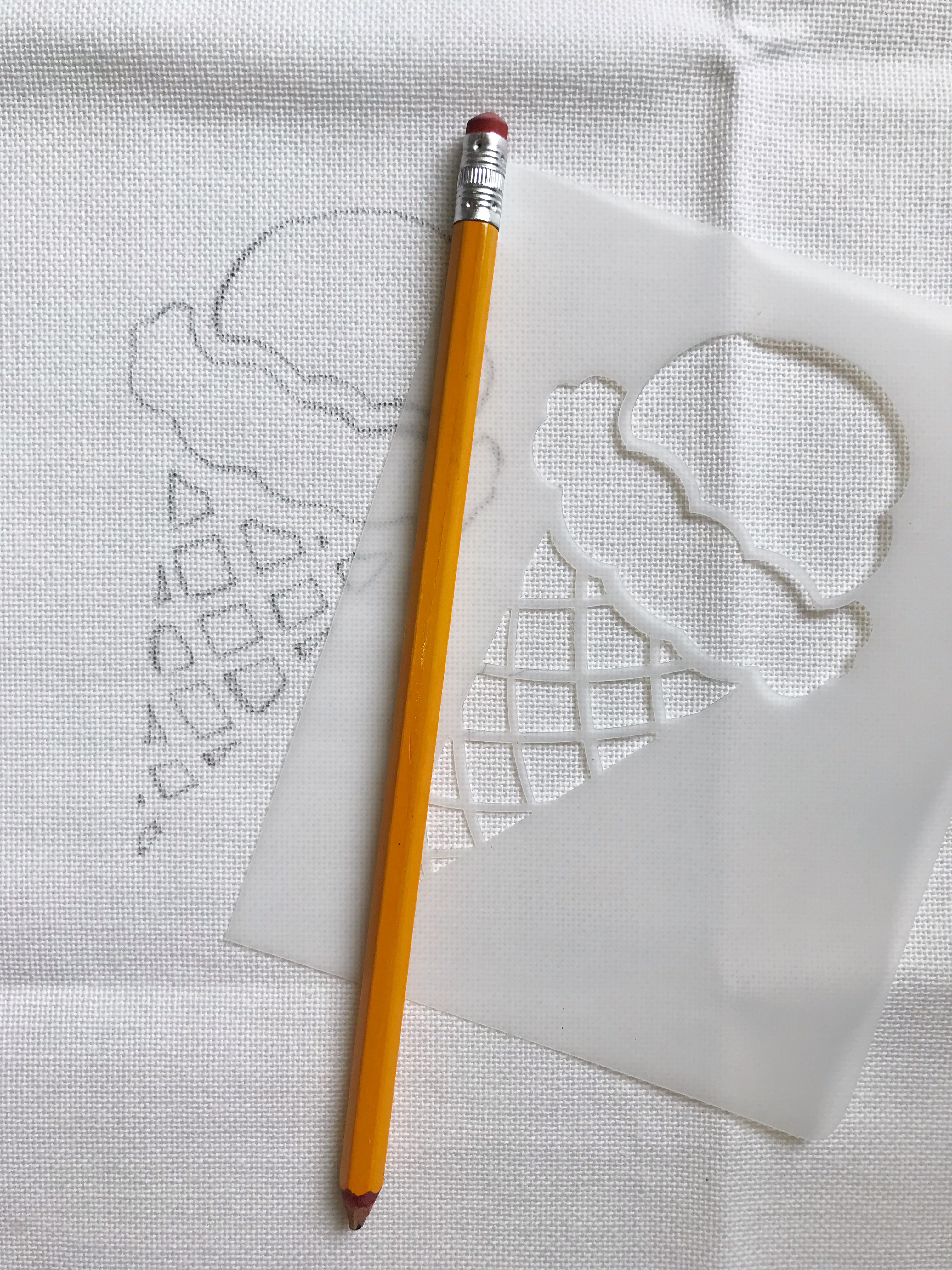 Draw your ice cream stencil onto the cloth