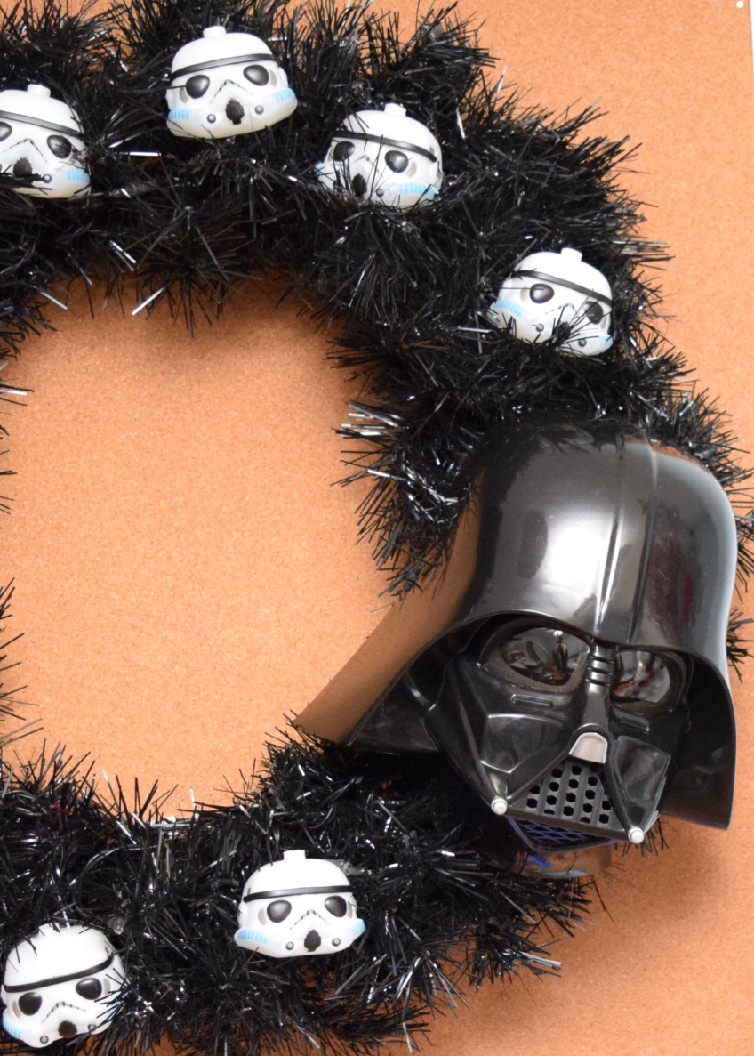 Black May the 4th wreath with Darth Vader and Storm Troopers