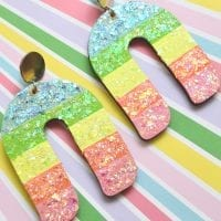 DIY Rainbow Glitter Earrings