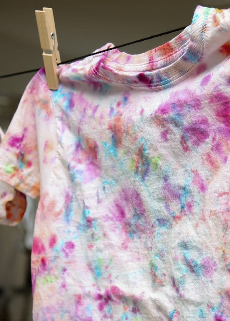 Closeup of T-shirt with colorful ice dying