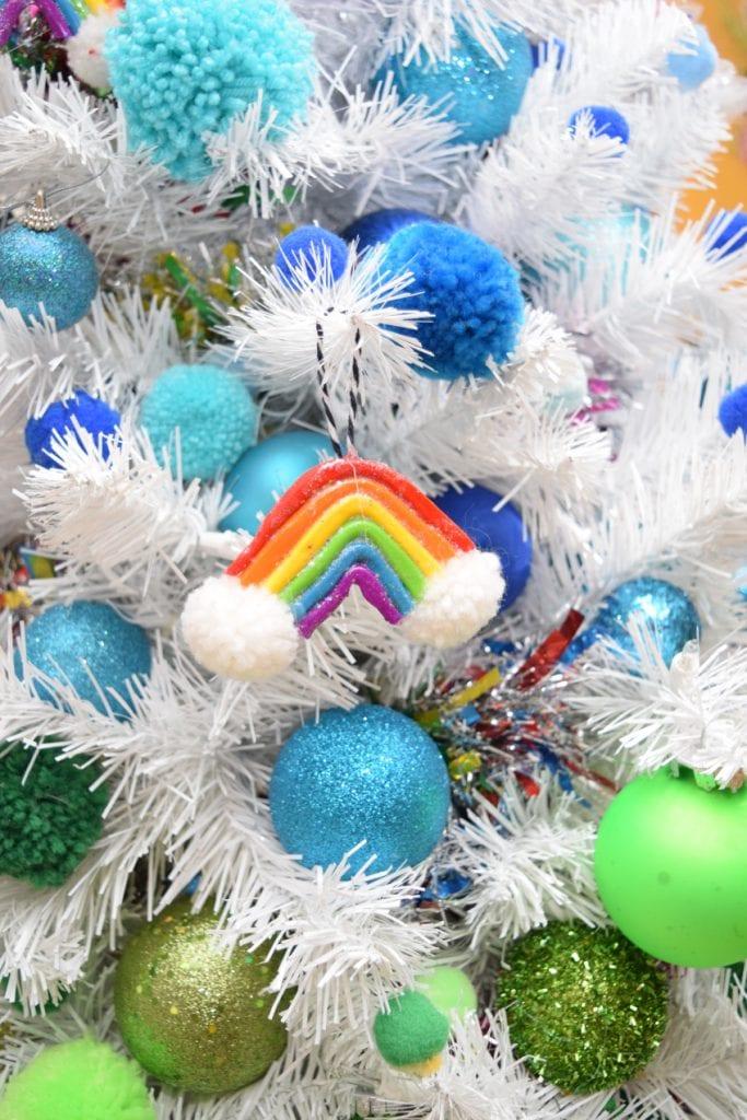 Polymer clay rainbow ornaments