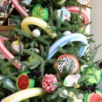 Picnic themed Christmas tree decorated with DIY paper plate fruit