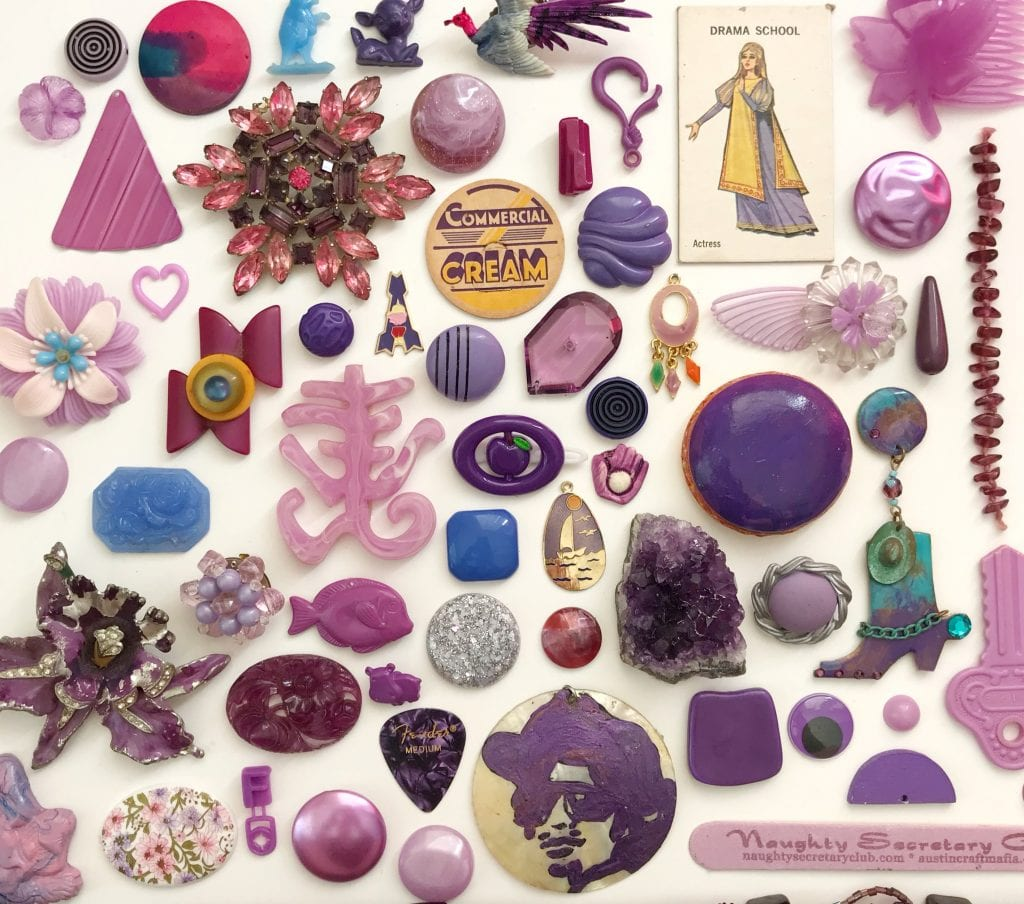 Flat Lay of Purple trinkets