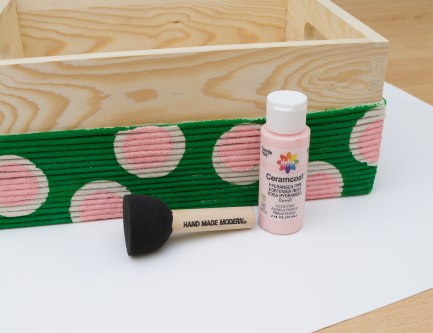 Stenciled Desk Caddy with Polka Dots