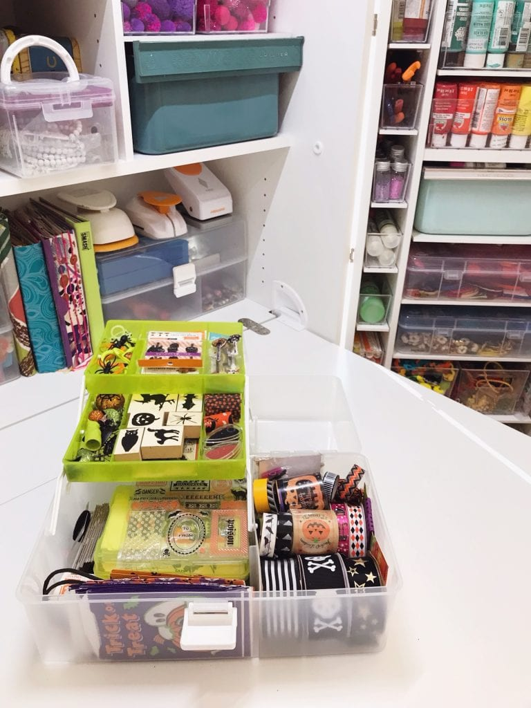 Halloween craft supplies organized in livinbox