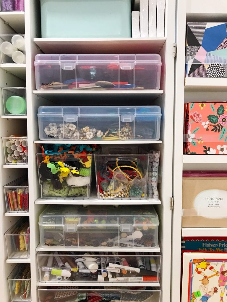 Craft supplies organized in shelves
