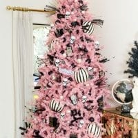 Halloween tree in pink, black and white.