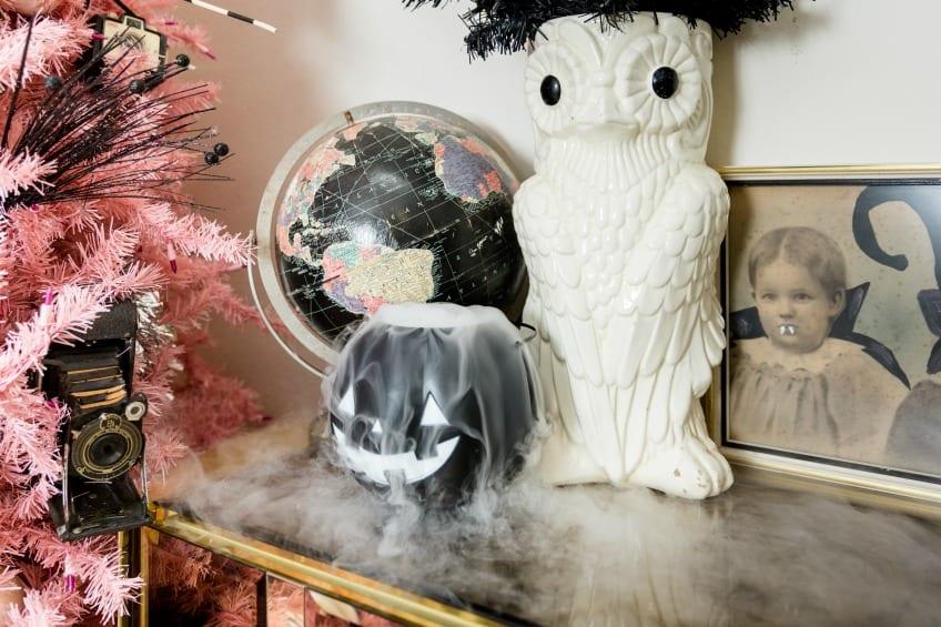Dry ice in a plastic Halloween pumpkin.