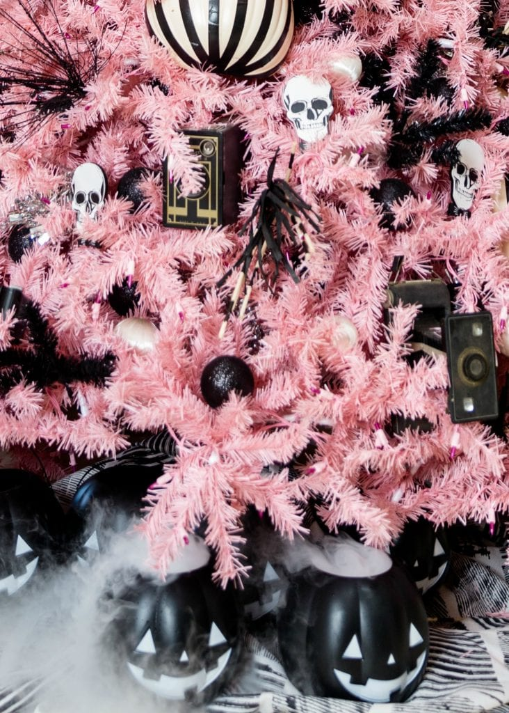 Pink Halloween tree with dry ice tree skirt