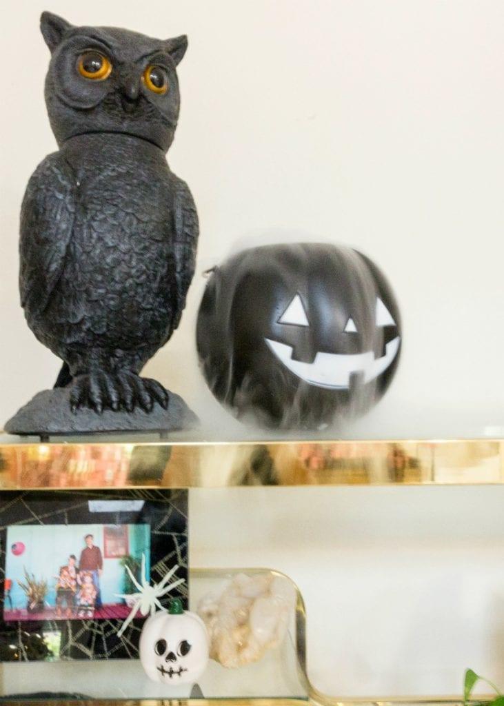 Black jack-o-lantern with dry ice.