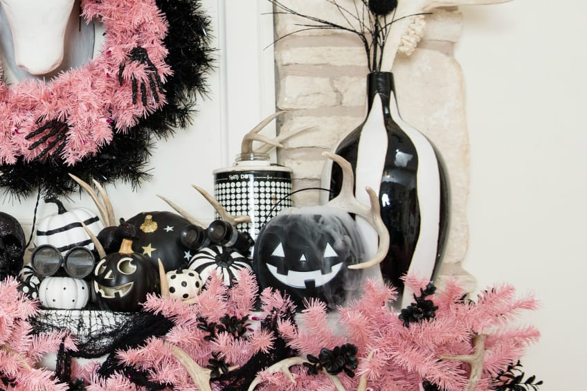 Spooky Halloween mantle with dry ice