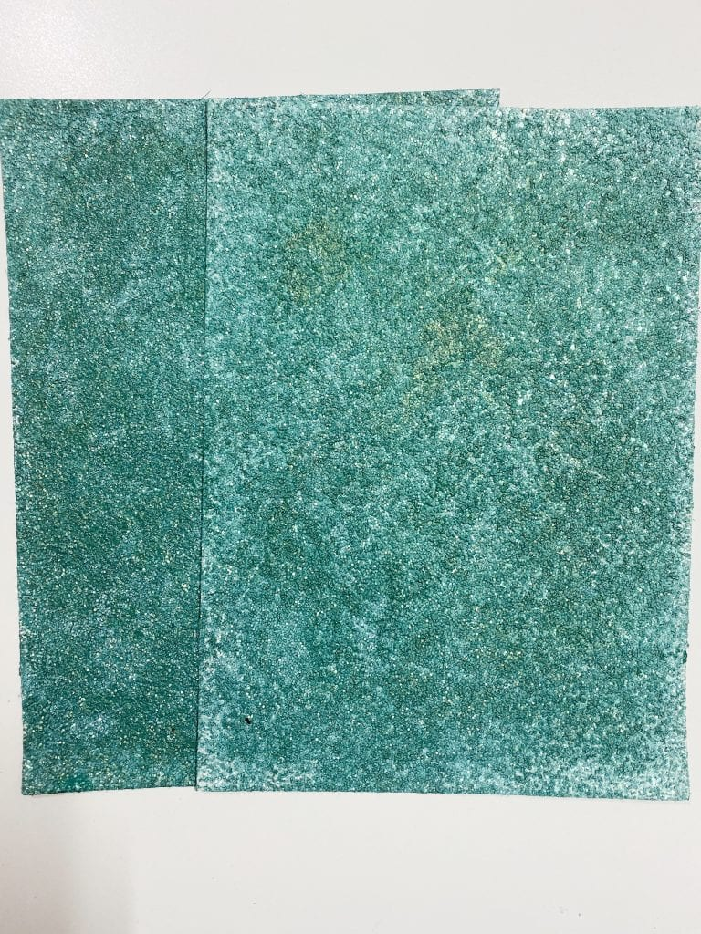 Green glittered paper for making DIY succulents