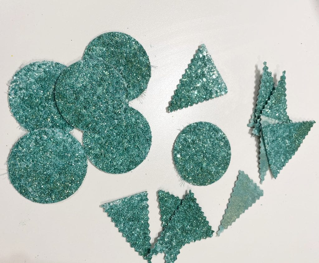 Shapes cut from glitter sheets for making DIY succulents