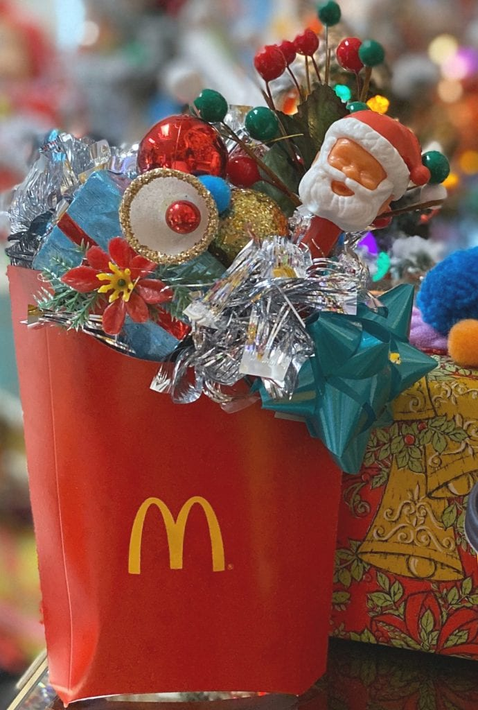 Kitschmas diorama in a McDonald's French Fry container