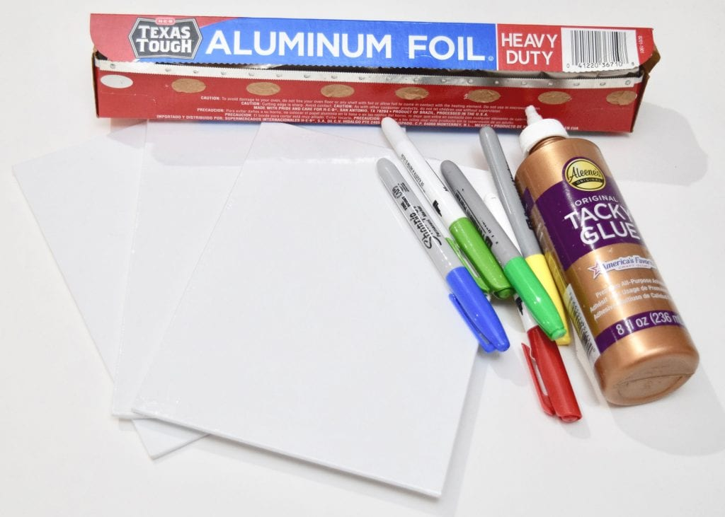Supplies for making foil art with kids