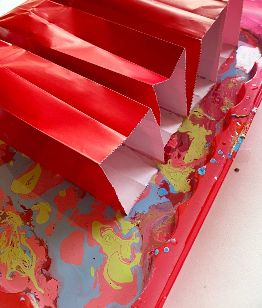 Paper party bags in marbling medium