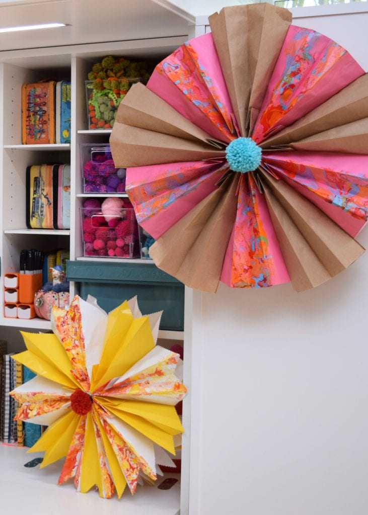 Colorful paper bag stars by Jennifer Perkins
