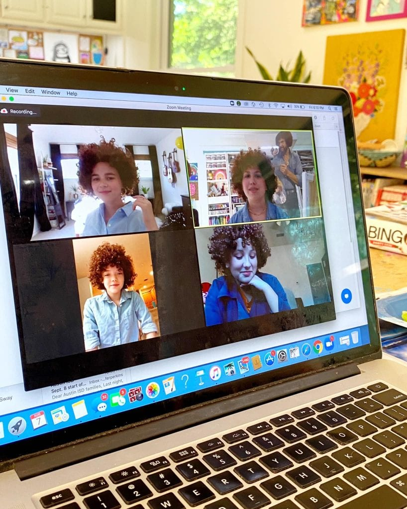 Kids having a virtual Bob Ross painting party on Zoom.