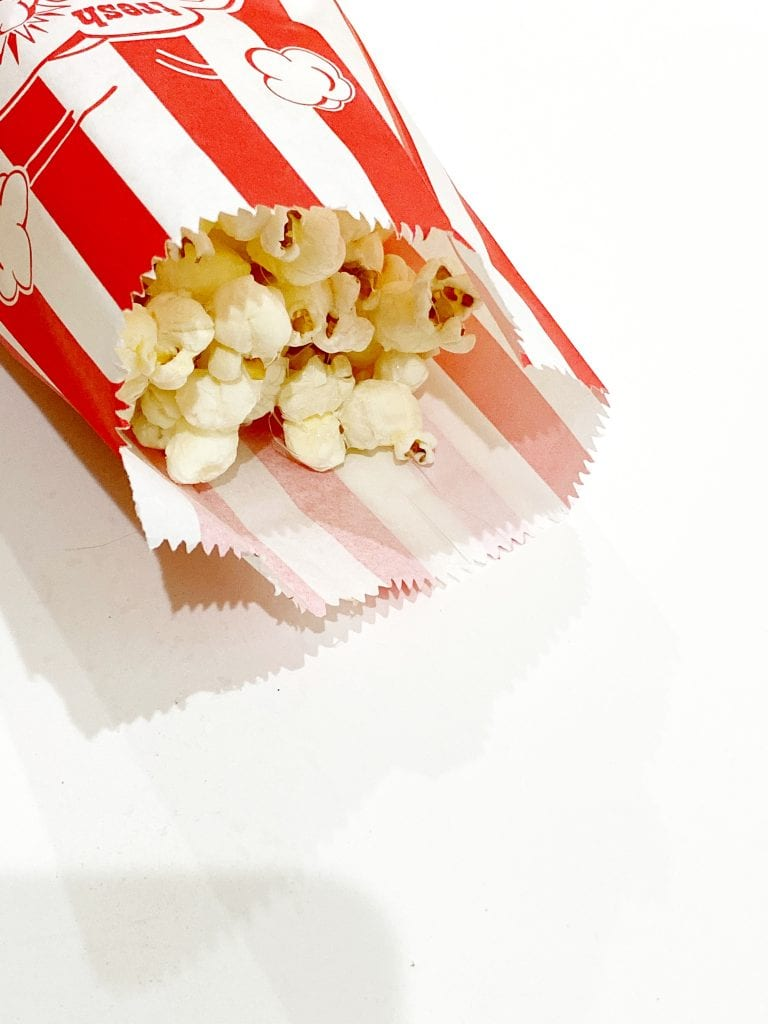 Striped bag of popcorn