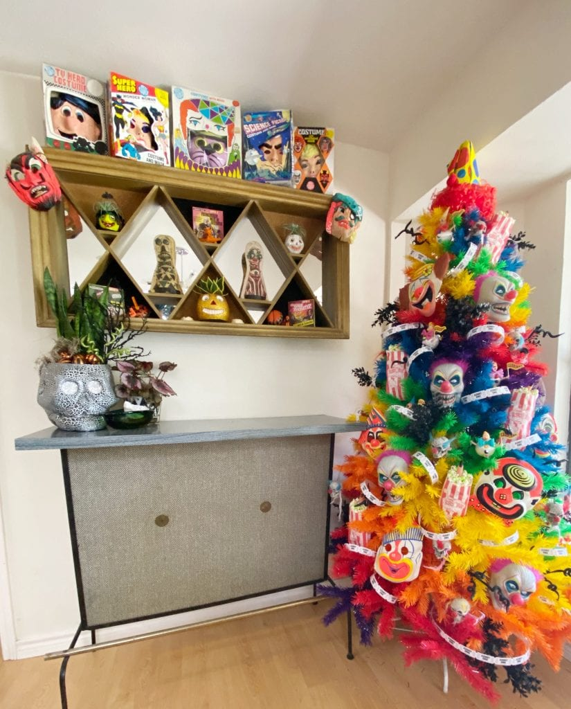 Halloween Tree in Rainbow covered in creepy clowns