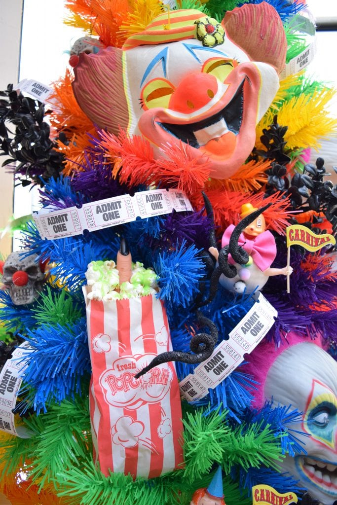 Rainbow Halloween tree with DIY carnival zombie popcorn ornaments