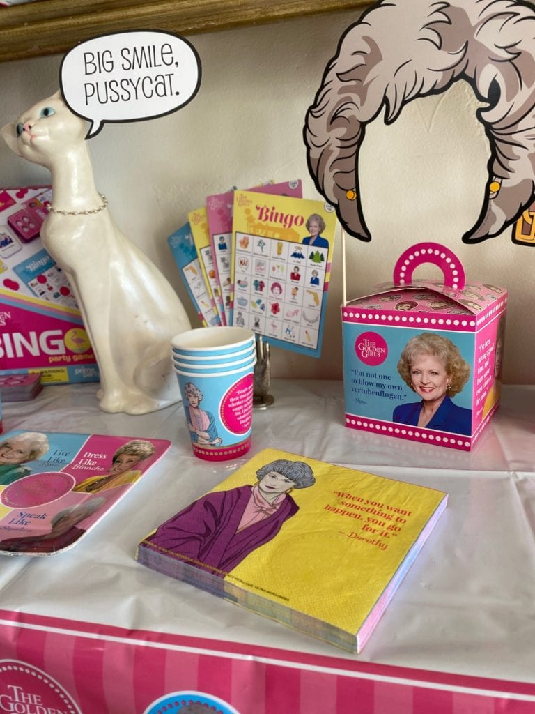 Bingo cards and party napkins with golden girls theme.