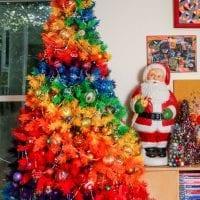 Kitschmas tree in rainbow colors by Jennifer Perkins.