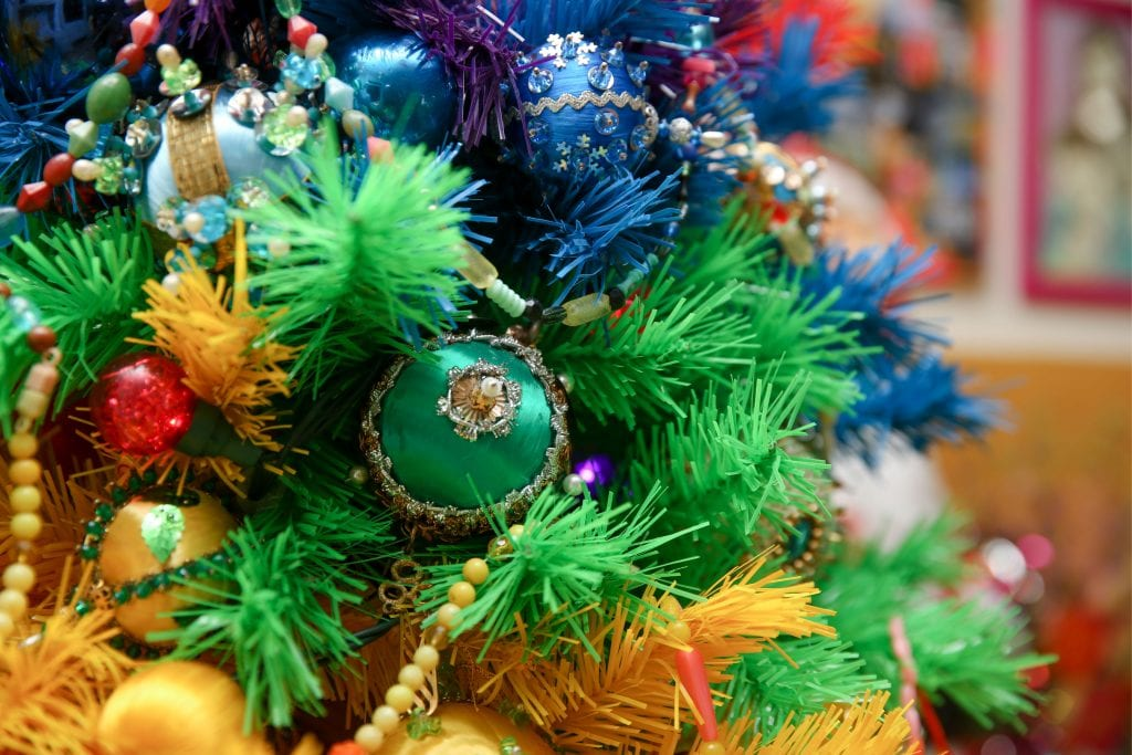 Rainbow Christmas tree with vintage beaded ornaments.