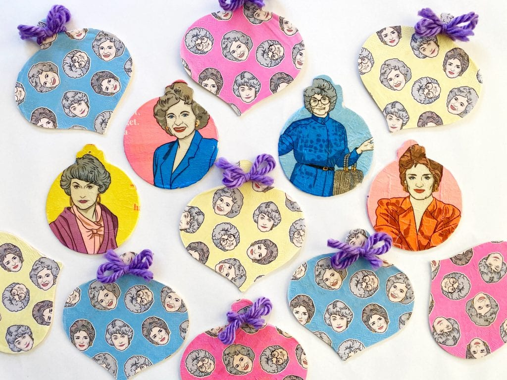 DIY decoupage Christmas tree ornaments made with Golden Girls paper napkins.
