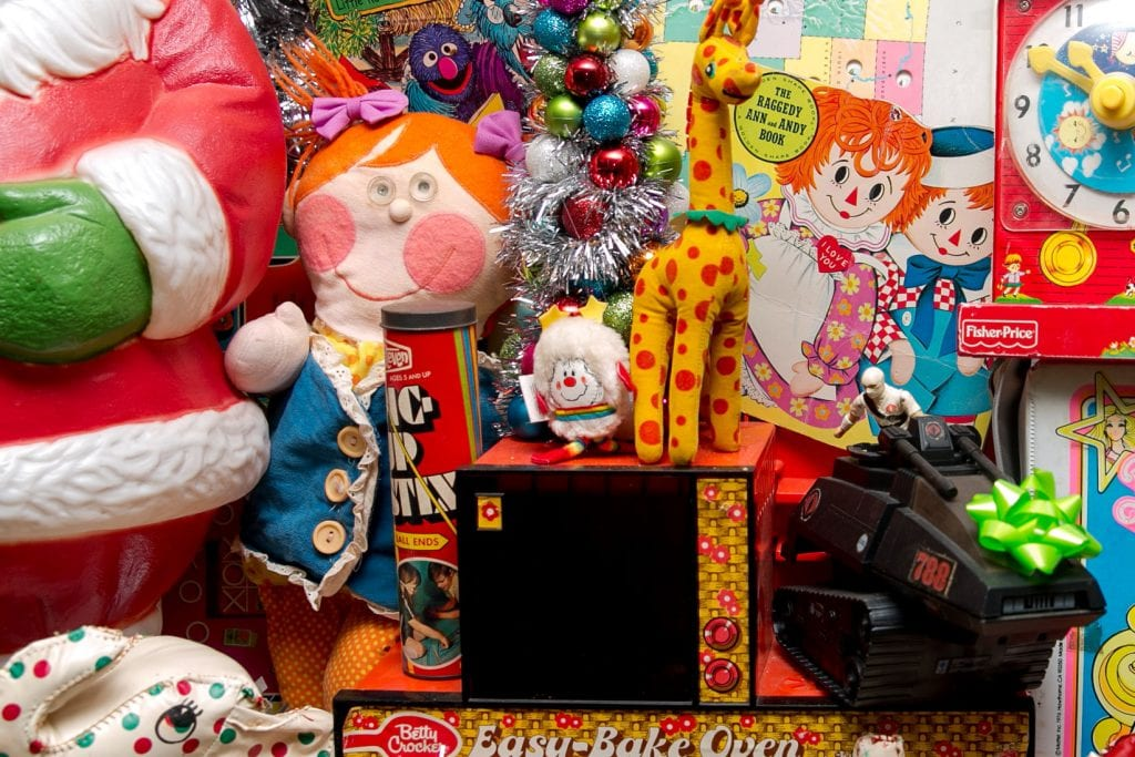 A collection of vintage toys as Christmas decorations.