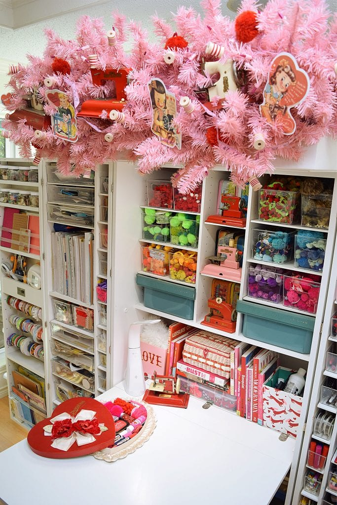 Craft space decorated for Valentine's Day by Jennifer Perkins.