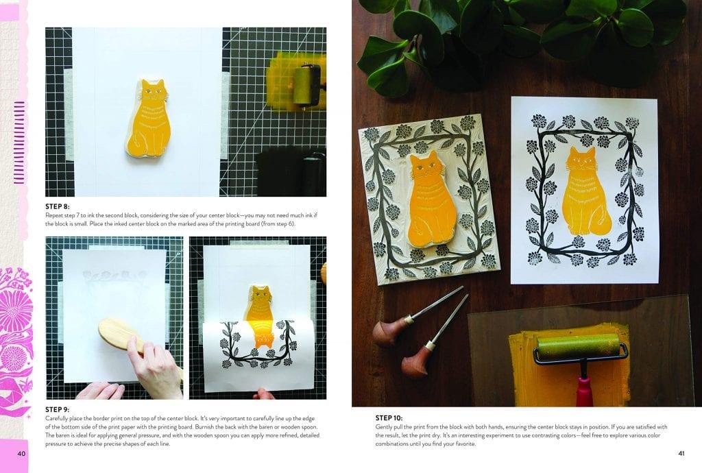 Block print cat