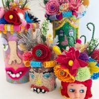 Collection of head vases made by Jennifer Perkins