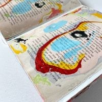 Vintage book pages marbled